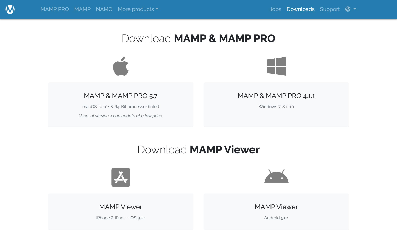 MAMPのダウンロードページキャプチャー画像