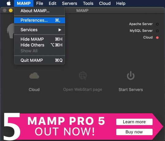 MAMPの設定画面