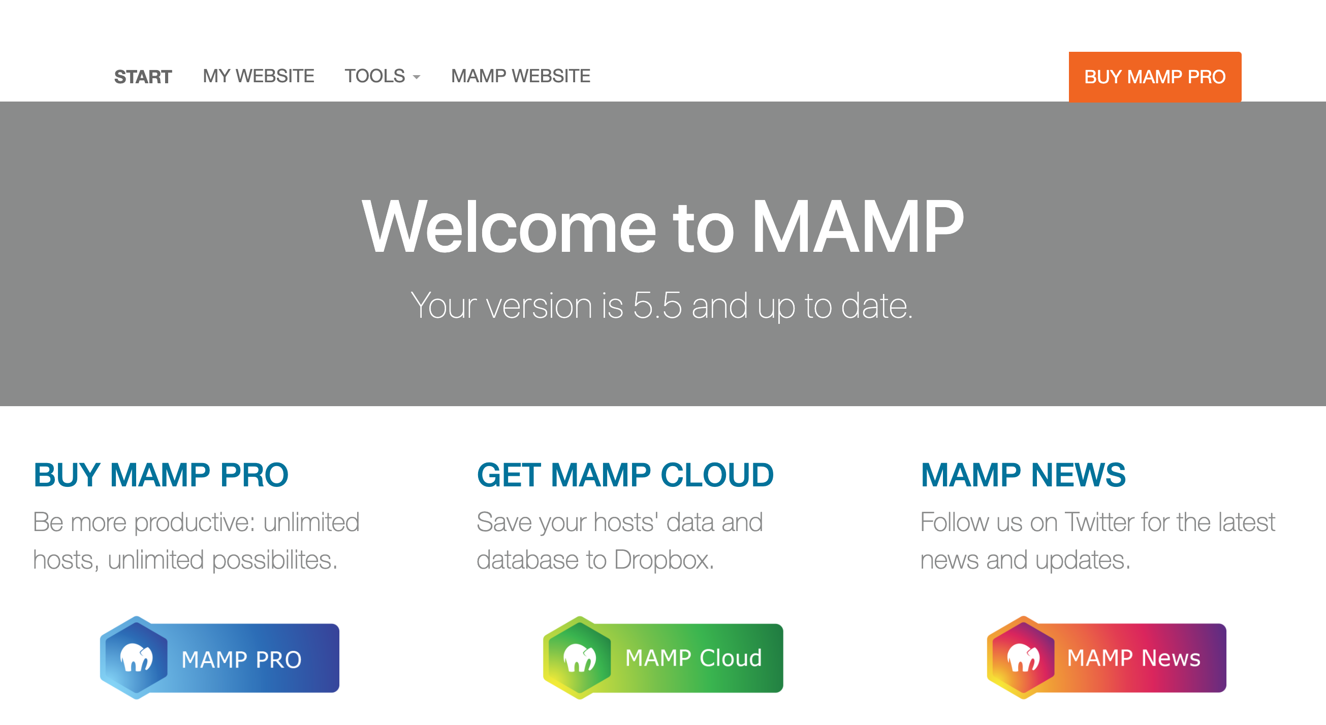 MAMPのWebStartpage