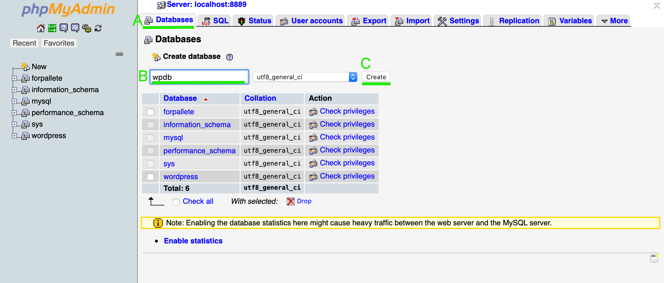 phpMyAdminでデータベースを作成