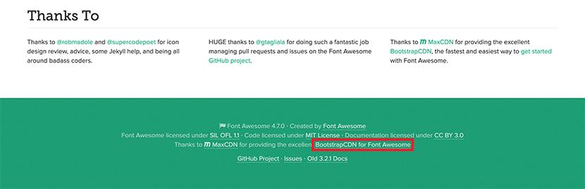 Font Awesome4.7のページにあるCDNへのリンク