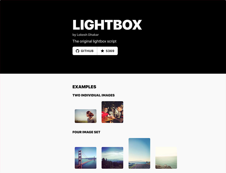 Lightbox2のページのスクリーンショット