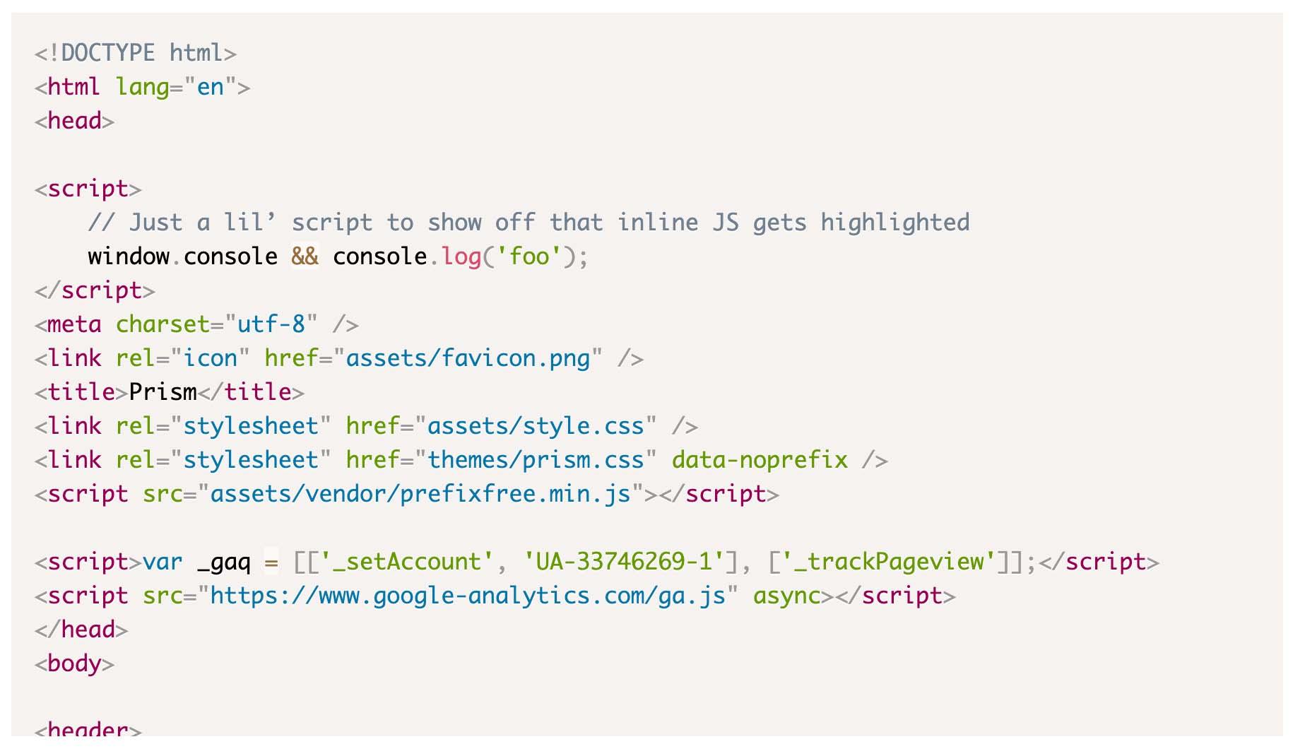 Prism.jsでDefaultのテーマを選択した際のコード表示