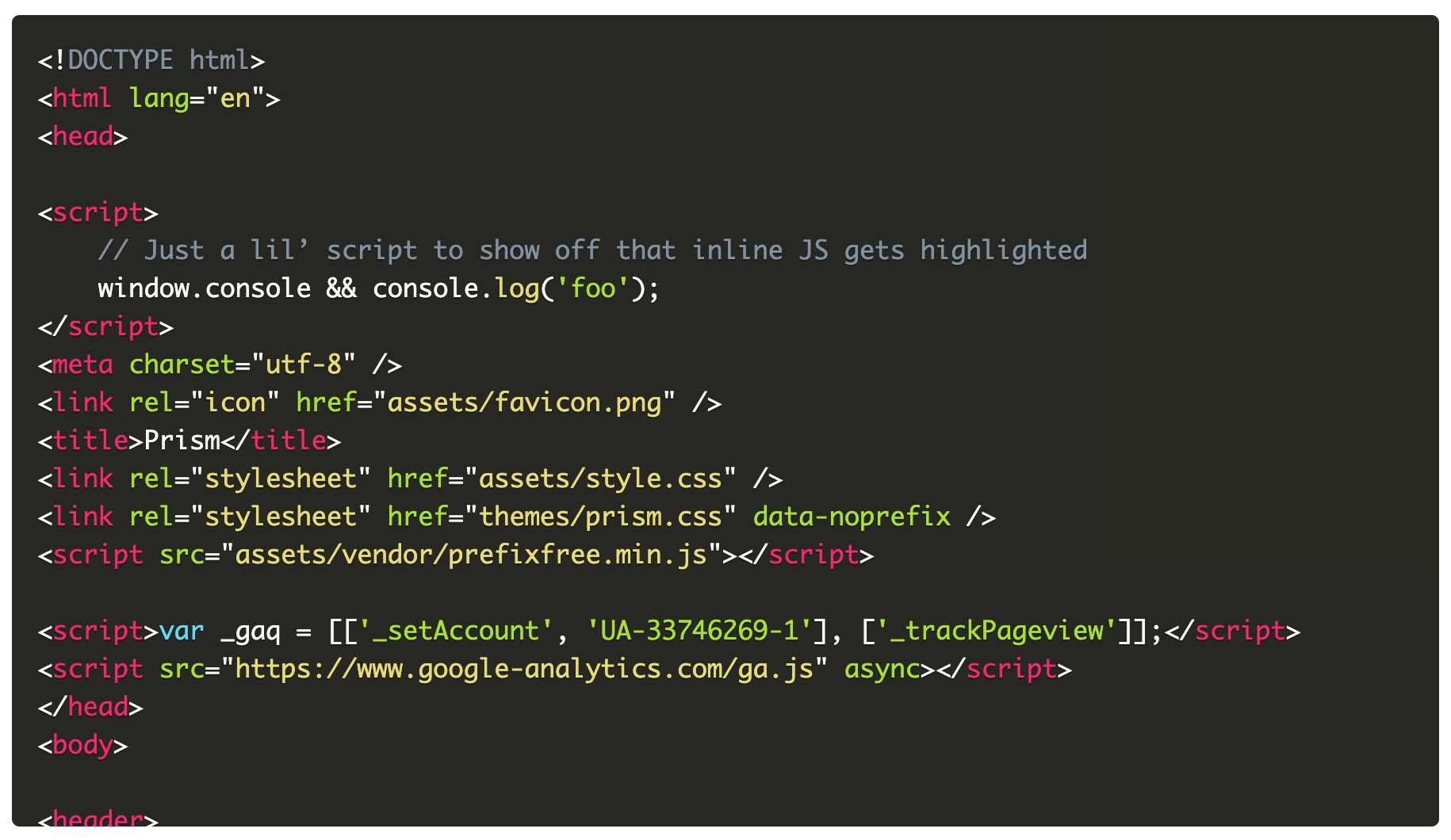 Prism.jsでOkaidiaのテーマを選択した際のコード表示