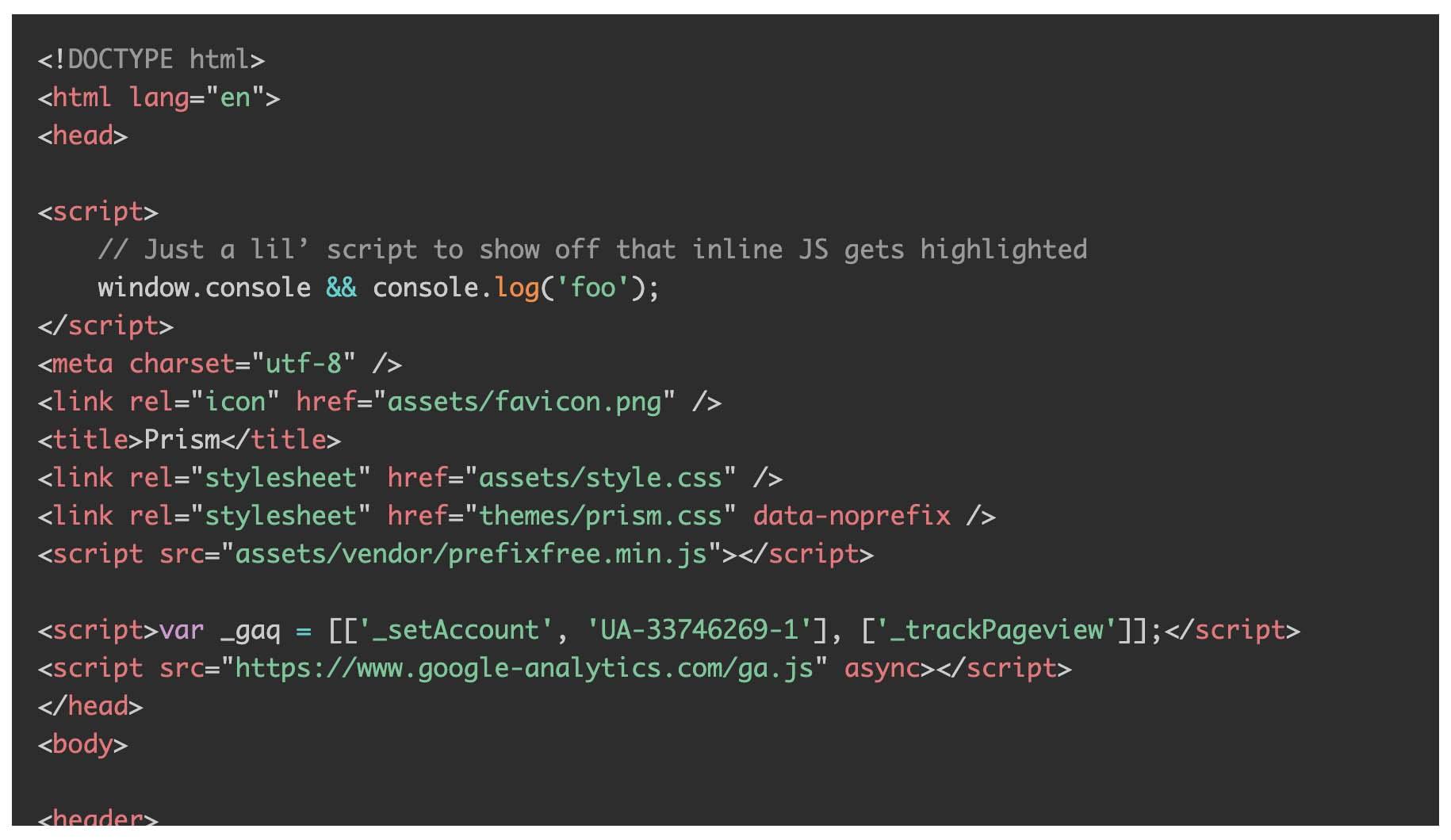 Prism.jsでTomorrow Nightのテーマを選択した際のコード表示