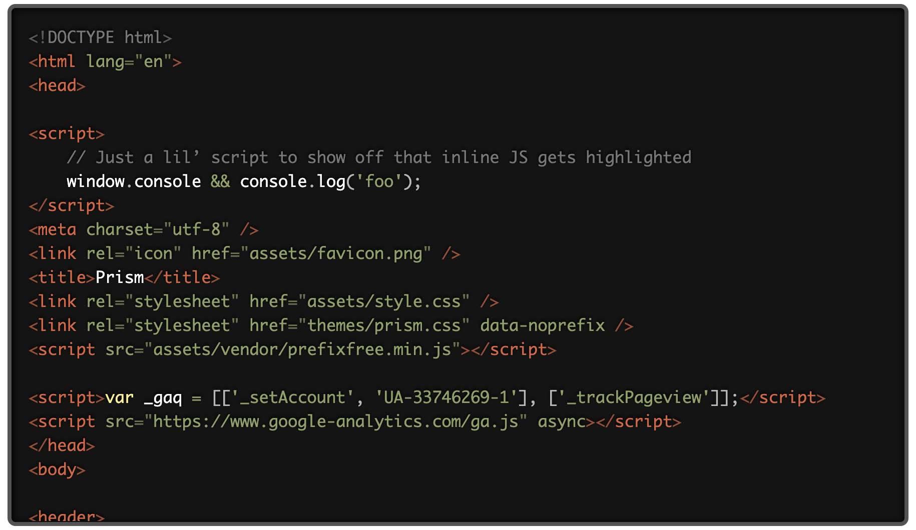 Prism.jsでTwilightのテーマを選択した際のコード表示