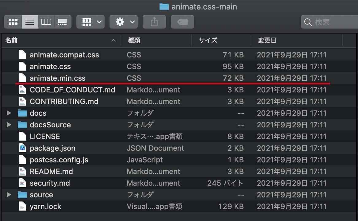 ダウンロードした「animate.css-main」というフォルダの中身